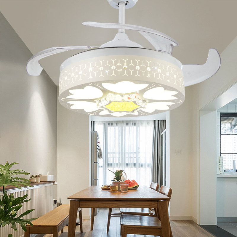 Crystal Invisible Ceiling Fan Light Living Room Dining Room Ceiling Lamp Modern Fan Light 42 Inch Led Fan Light|Ceiling Fans|   - title=