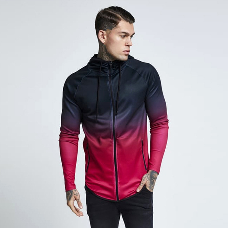 Mens 3d Hoodies Zipper Casual Tracksuit Pocket Hooded Sweatshirt Men Gradient Streetwear Hip Hop Hoodie Spring Autumn Tops