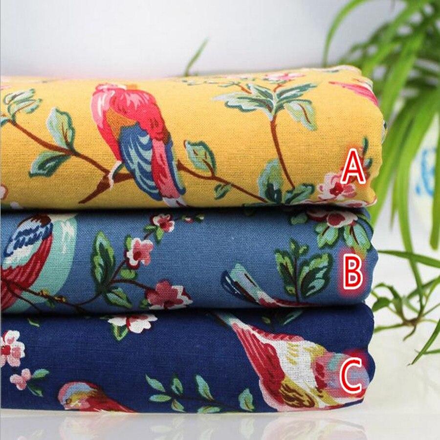20.90 Eurmeter fabric from Japan cotton linen 50 cm x 110 cm birds in tree blue P150e