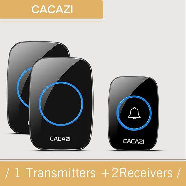 CACAZI wireless door bell 1 waterproof buttons+2 US/UK/EU plug receivers 300M remote doorbell 48 sounds 6 volume door chime