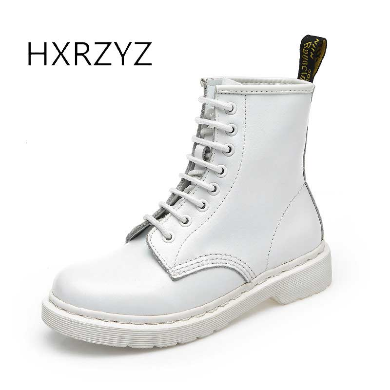 HXRZYZ fashion boots womens winter boots female Martin ankle boots of genuine leather lace-up Women's spring and autumn shoes fashion men s formal martin boots mens leather ankle boots lace up male boots footwear botas hombre spring autumn winter shoe