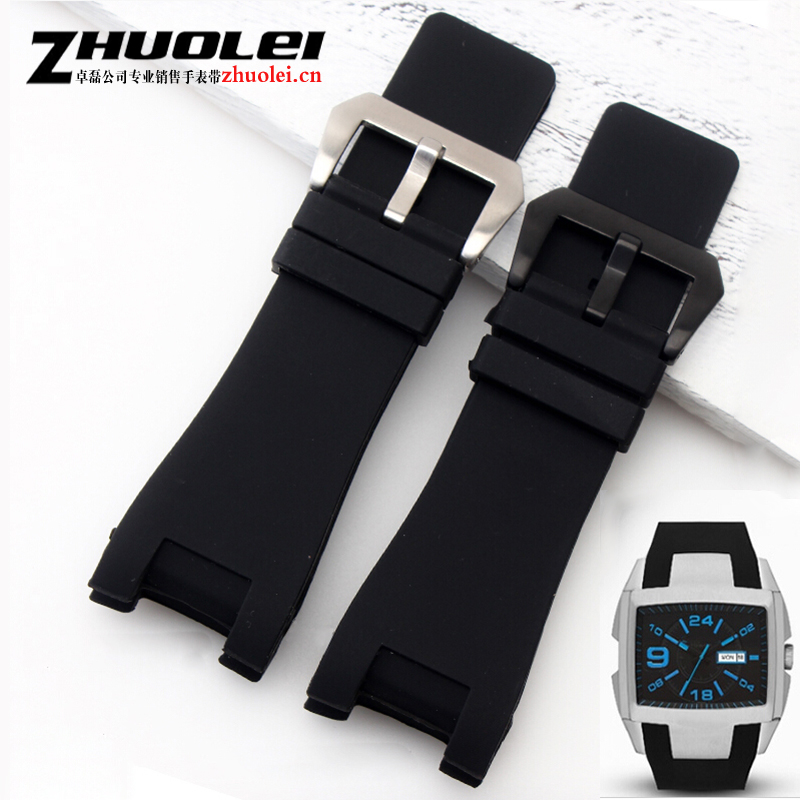 New waterproof 32*17mm black rubber watch strap with stainless steel buckle watchband men Dedicated fit DZ1215 1216 Bracelet цена