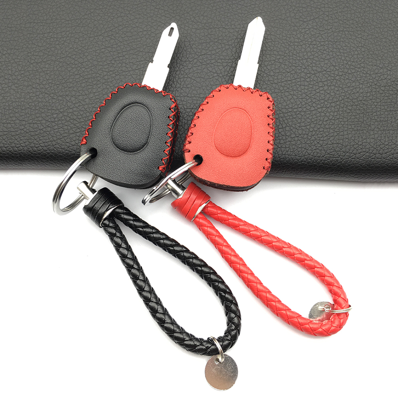 High Quality 100% Leather Car Key Shell Case Cover Holder For Renault Clio Megane Scenic IR Remote Fob 1 Buttons Key Shell