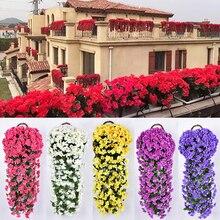 DIY красочные искусственные шелковые фиолетовые плюща Висячие Цветы для гирлянды настенные Висячие растения Свадебные вечерние украшения для дома и сада