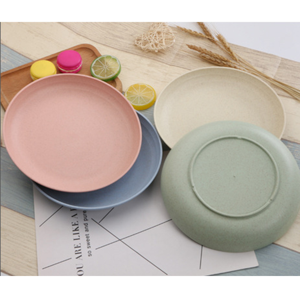 Wheat straw Plates Solid Color Eco Food Snack Dish Plate Straw Lunch Dinner Dessert Fruit Tray Tableware