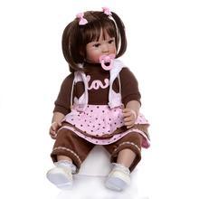 Boneca Reborn 24inch Soft Silicone Vinyl Doll 60cm Soft Silicone Reborn Baby Doll Newborn Lifelike Bebe Reborn Dolls Brinquedos цена