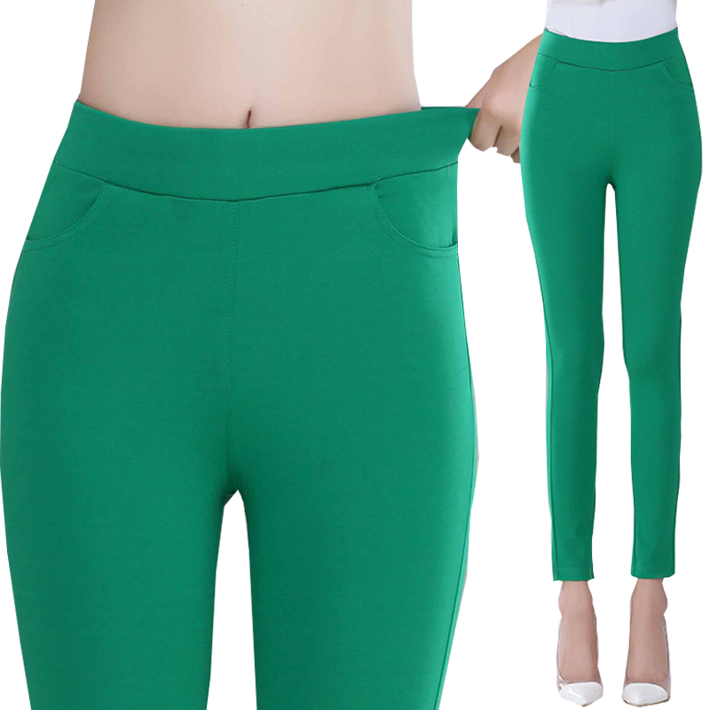 2016 Summer suit pants & capris women cotton high elastic waist solid strentch candy col ...
