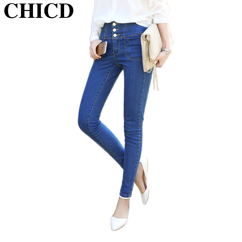 CHICD 2017 Women Skinny Jeans New Spring Autumn Fashion Pencil Pants Denim Slim Blue Button Mid Waist Jeans XP302 hot sale skinny jeans woman spring new pencil jeans for women fashion slim blue jeans mid waist women s denim pants trousers