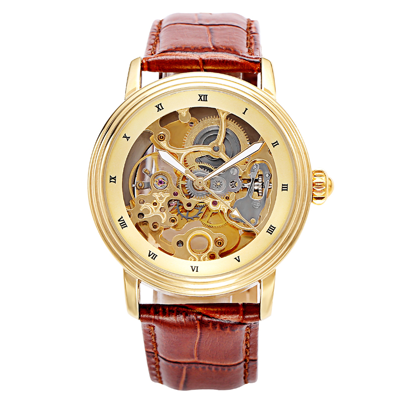 Top Brand Luxury Automatic Mechanical Watch Men Skeleton Men Watch Gold Wristwatch Leather Band Mechanical Self-winding men s self winding skeleton mechanical watch w pu leather band silver black