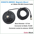 New Arrival KINNUOTA BMW58 Color Black MAGNETIC MOUNT SO239 with 5 Meter RG-58/U Coaxial Cable PL259