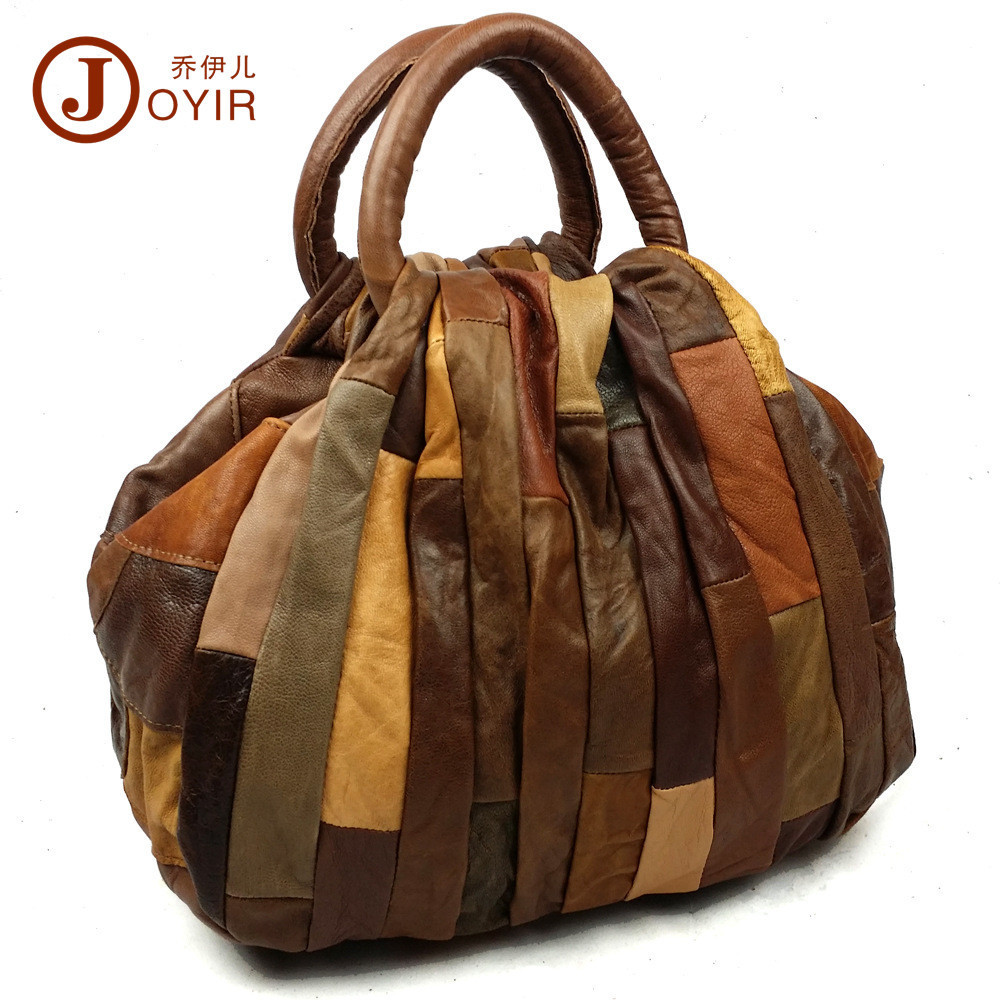 2018 New Genuine Real Leather Vintage Patchwork Handbags Women Crossbody Tote Overlight Bag Casual Satchel Sling Shoulder Bag genuine leather women striped handbags patchwork lady shoulder crossbody bag brand design colorful stripe sling bag random color
