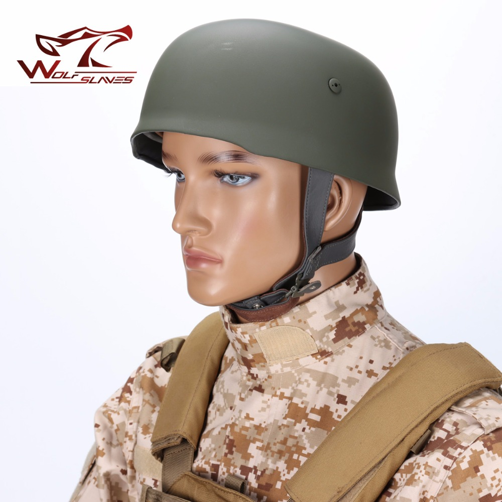 WWII German Fallschirmjager Paratrooper M38 Helmet Army Tactical Airsoft Military Pule Steel Durable Helmet with Leather Liner tactical helmet german army classic burgomasters od m35 military police outdoor cs war game airsoft paintball steel helmet