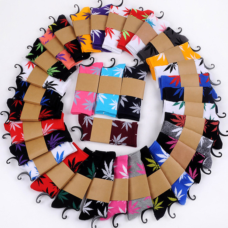 21 Optional Colors Wead Leaf Crew Men Skate Hip Hop Weed Socks