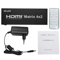 HDMI Matrix Switch 4x2 With Remote Control HDMI V1 4 Switcher Splitter Converter Adapter Support 4K