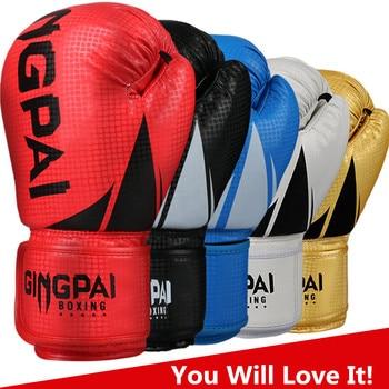 HIGH Quality Adults Women/Men Boxing Gloves Leather MMA Muay Thai Boxe De Luva Mitts Sanda Equipments8 10 12 6OZ boks
