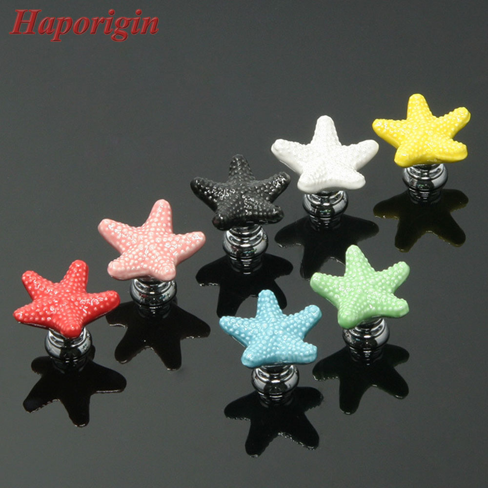 5x Starfish Ceramic Cabinet Drawer Knobs Porcelain Kids