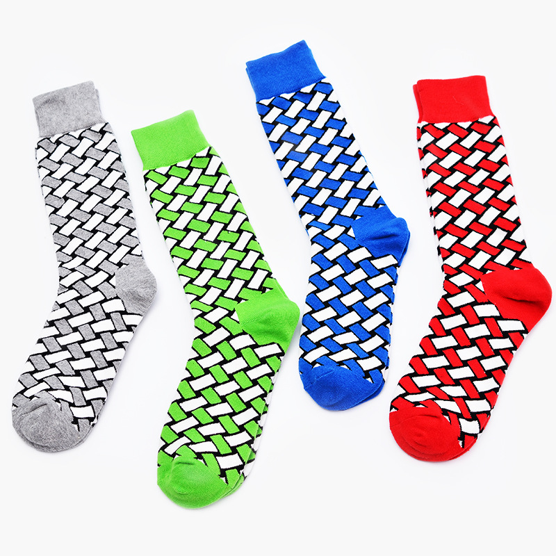 British style mens cotton socks personality square socks mens socks tide in the long tube of Red Grey Blue Green funny socks