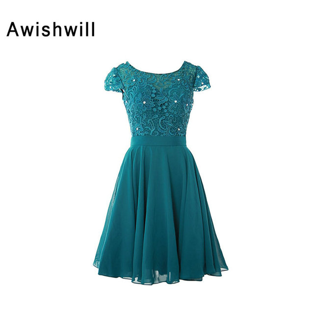 4ba3cc9693e Real Photo Mother of The Bride Dresses Teal Color Beaded Lace Chiffon Short  Sleeve Formal Evenig Gowns for Women