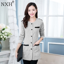 NXH 2018 New Arrival Spring Autumn Women's fit thin Blazer jackets Simple Long sleeve Veste Female Clothing  suit Tops O-Neck