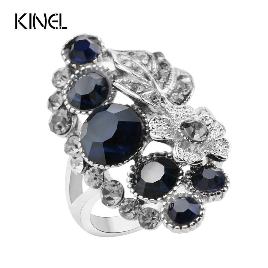 Kinel fashion blue crystal wedding engagement for Vintage costume jewelry websites