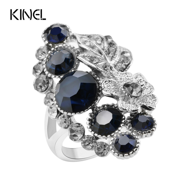 Kinel Fashion Blue Crystal Wedding Engagement Rings For Women Silver Plated Vint