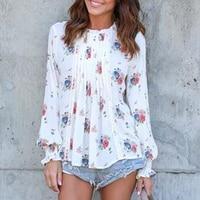 Fashion Floral Print Chiffon Blouse Shirt Women Top Femme Long Sleeve Autumn Spring Casual Floral Print