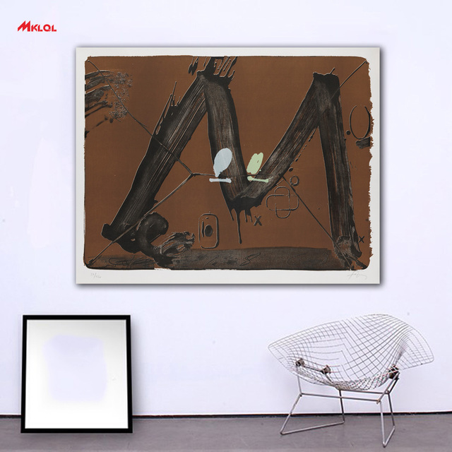Wall Art NI TAPIES Grand M Avec Taches Painting For Living Room Home  Decoration Oil
