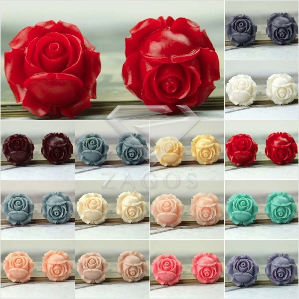 3Pcs Resin Vintage Style Flower Flat Back Cabochon 26x26x13mm For Jewelry Accessories Flatback Wholesale RB0539
