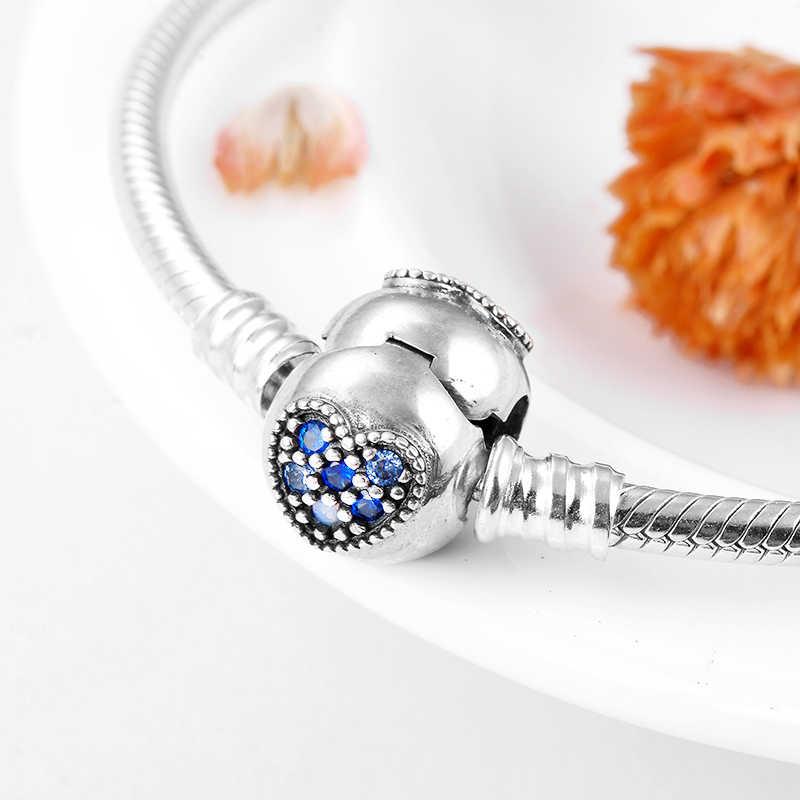 Prawdziwe 925 Sterling Silver okrągły kształt serca z niebieskim CZ Charms wąż łańcuch kości bransoletki moda kobiety biżuteria walentynki dzień