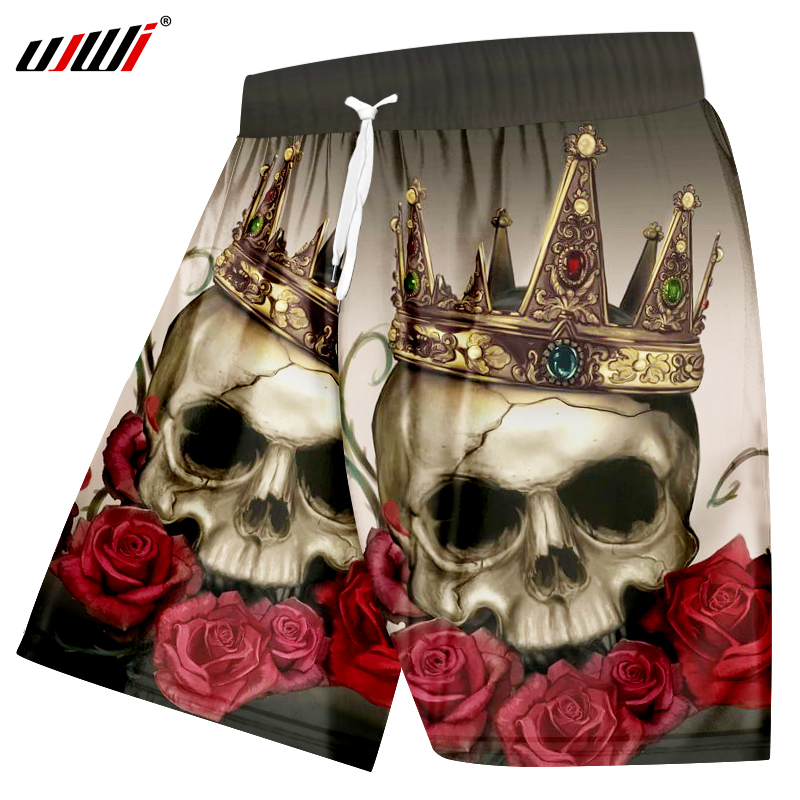 UJWI 2019 Summer Casual Shorts Men's Fashion Print Rose Skull With Crown 3D Boardshorts Man Hip Hop Quick Dry Beach Shorts 5XL