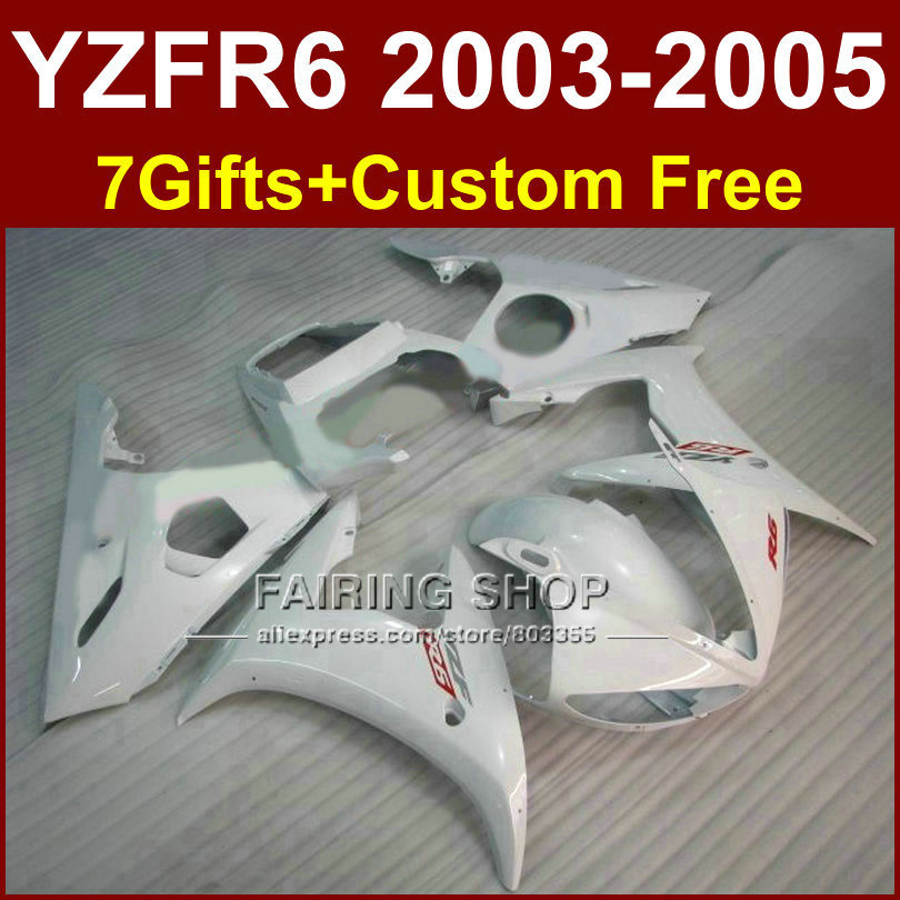 Bright white body repair parts for YAMAHA R6 fairing kit 03 04 05 fairings YZF R6 2003 2004 2005 Motorcycle sets FY6