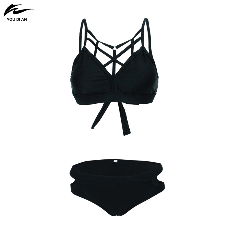 2017 Summer Bikini Suit Fitness Body Wading Sports Swimsuit Lady Brand Straight Solid Color Tight Swimsuit 40 2017 new tight sexy back body split bikini fitness body wading no steel ring army green swimwear swimsuit 29