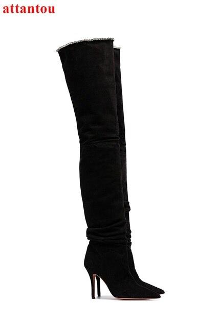 Mince Suédé Noir Chaussures Picture Style Cuir Longues Pointu Talon Modèle Outfit Cincise En Parti Over genou Femme the Bout As Bottes Ybfy67g