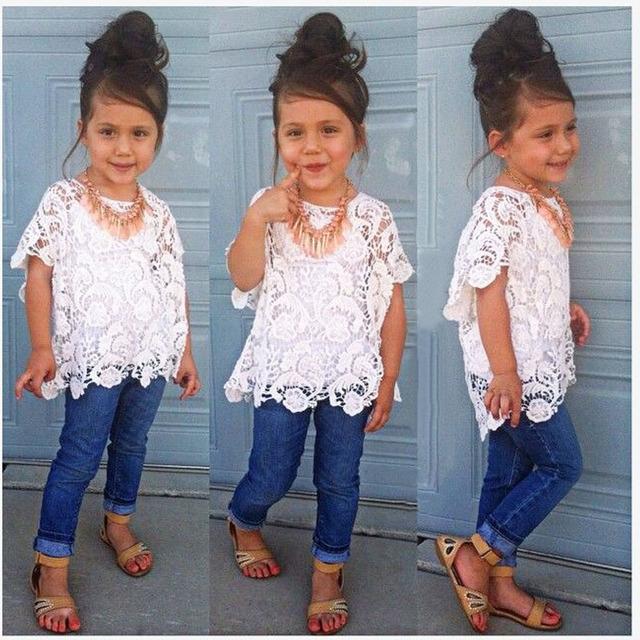 2016 verão Europa América estilo meninas conjunto de roupas de moda oco lace shirt + camisola + calças de brim 3 peça set