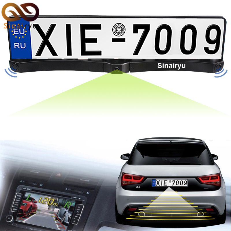 3in1 New Night Vision European License Plate Frame Car Rear View Camera With Auto Parking Sensor Reverse Backup Radar System3in1 New Night Vision European License Plate Frame Car Rear View Camera With Auto Parking Sensor Reverse Backup Radar System
