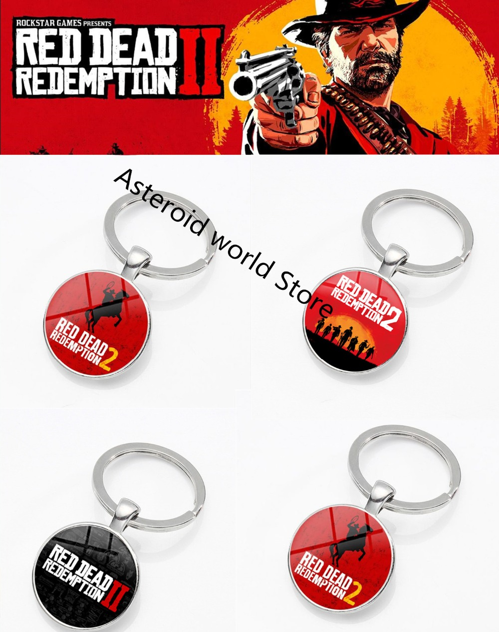 Costume Props Imported From Abroad New Game Red Dead Redemption 2 Keychain Metal Key Ring Chain 3d Gun For Men Car Women Bag Jewelry Souvenir Chaveiro Llaveros