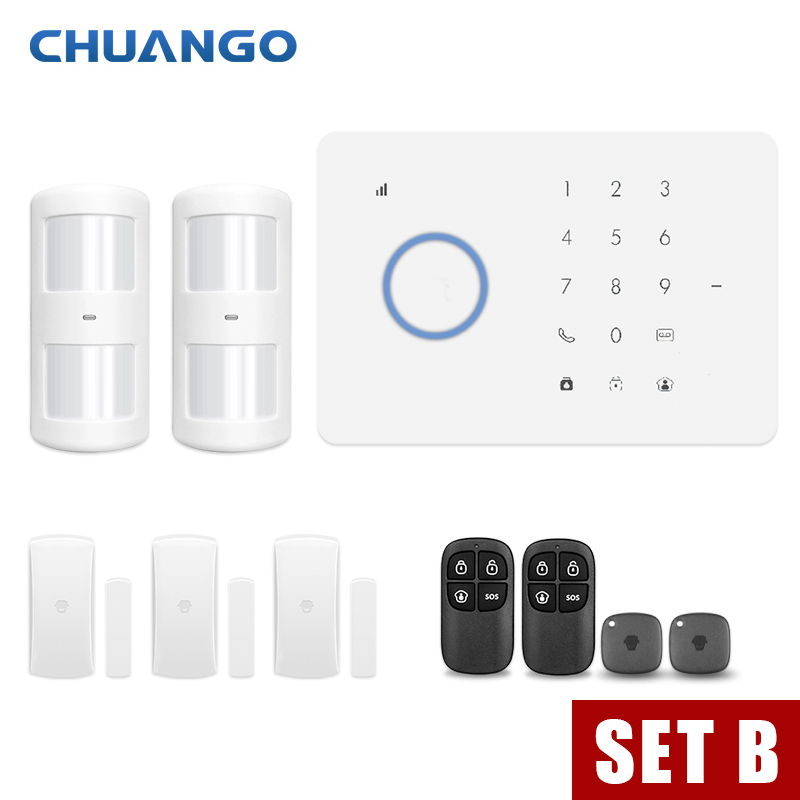 CHUANGO app contrôle Sans Fil À Domicile GSM système d'alarme de sécurité Kit APP Contrôle Avec Numérotation Automatique détecteur de mouvement Capteur alarme anti-effraction