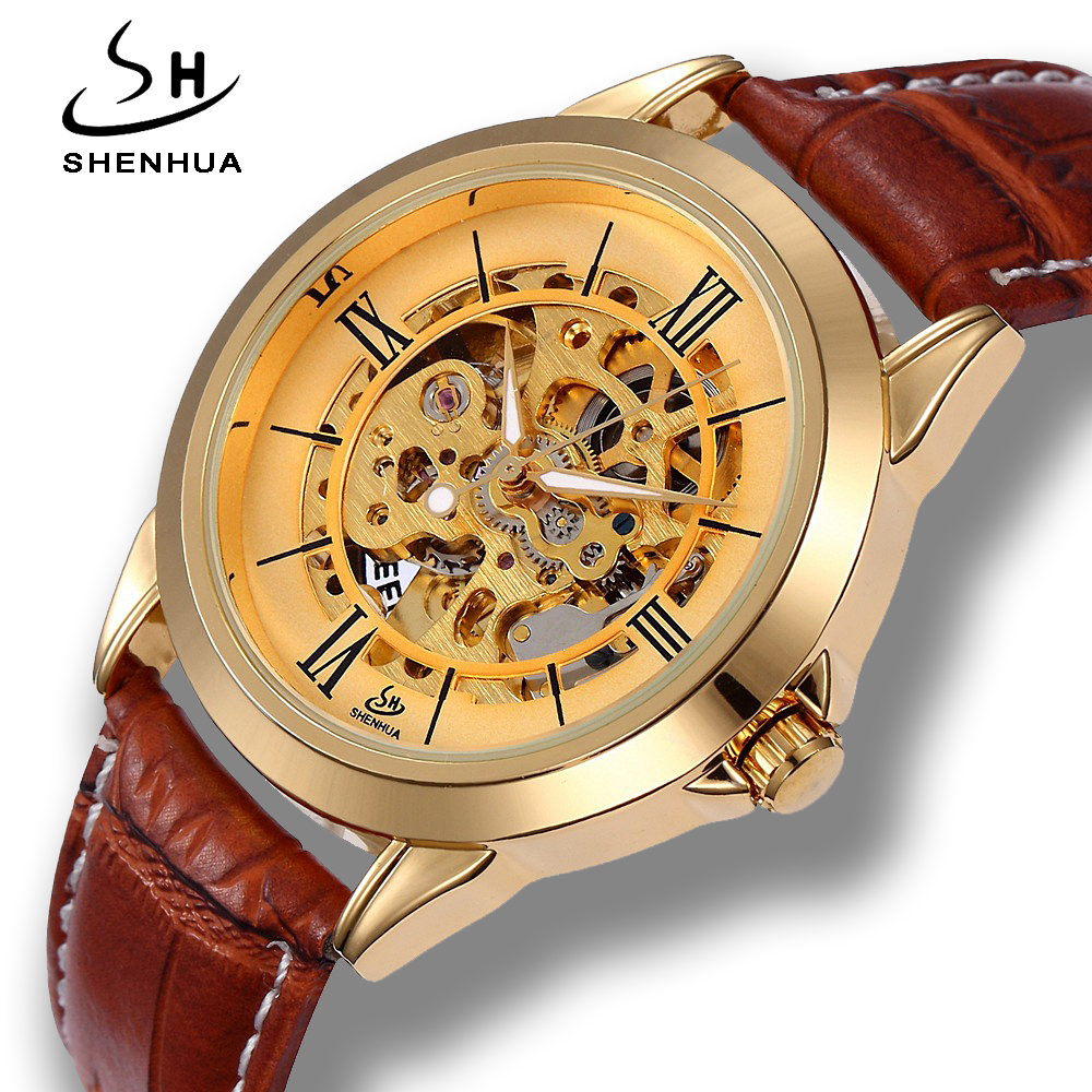 Shenhua 2018 New Arrival Mens Mechanical Watches Luxury Gold Skeleton Dial Leather Automatic Self Winding Watch Men relogio automatic self wind skeleton watch hollow out dial mechanical watches man leather relogio masculino rome exquisite carved watch