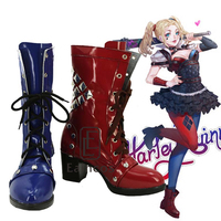 Batman Arkham Knight Harley Quinn Cosplay Halloween Party Shoes Blue And Red Boots Custom Made