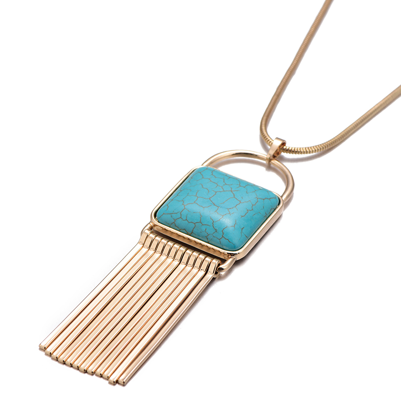 2018 New Fashion Nature Stone Pendant Long Chain Necklace Gold Silver Color Bar Tassel Necklace For Women Jewelry dropshipping 4