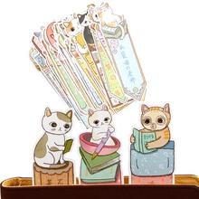 30 шт./лот милый забавный кот Закладка бумага мультфильм закладки с животными рекламный подарок канцелярские товары пленка Закладка
