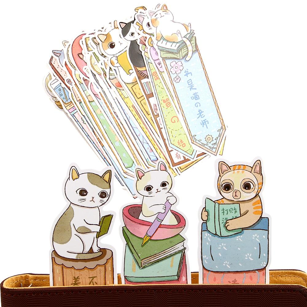 30Pcs/lot Cute Funny Cat Bookmark Paper Cartoon Animals Bookmark Promotional Gift Stationery Film Bookmark