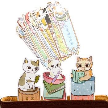 30Pcs/lot Cute Funny Cat Bookmark Paper Cartoon Animals Bookmark Promotional Gift Stationery Film Bookmark фото