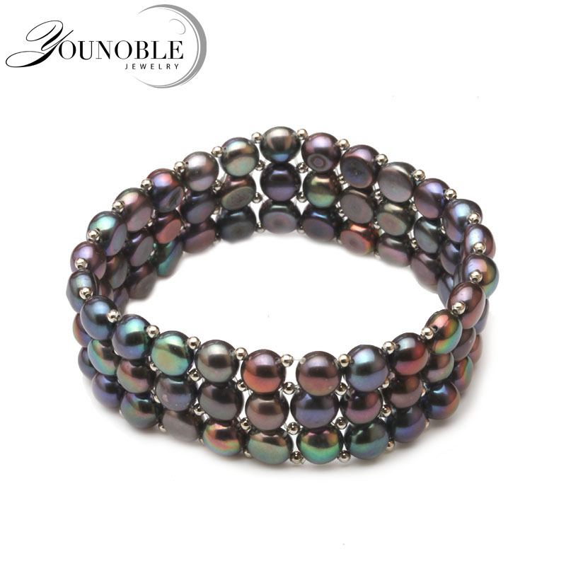 Real Multilayer Natural Freshwater Pearl Bracelet Jewelry, wedding trendy colorful girl 3 rows adjustable bracelet women gift chic colorful multilayer rhinestone bead bracelet for women