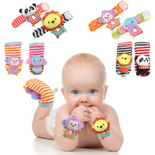 Baby  rattle socks stereo cartoon animal elephant monkey Lion panda toys infant Foot Socks Wrist band