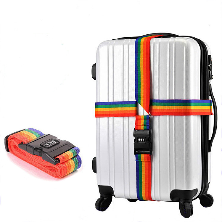 Multi Colors 4m Long Cross Luggage Strap Belt For Suitcase With Secure Lock Safe Belt Strap Travel