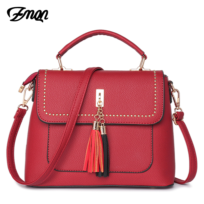 ZMQN Women Crossbody Bags Handbags For Women Famous Brand Tassel Rivet Bag Ladies Leather High Quality Fashion Red Bag Hard A514