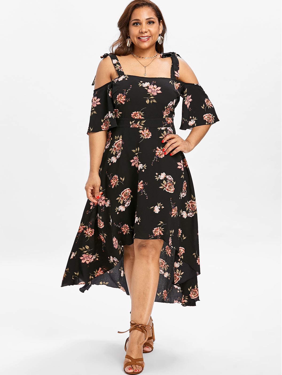 b3bd37f601 Gamiss Women Casual Boho Dress Plus Size 5XL Open Shoulder Floral Print  Flowy Dress Summer Half Sleeves Asymmetrical Vestidos