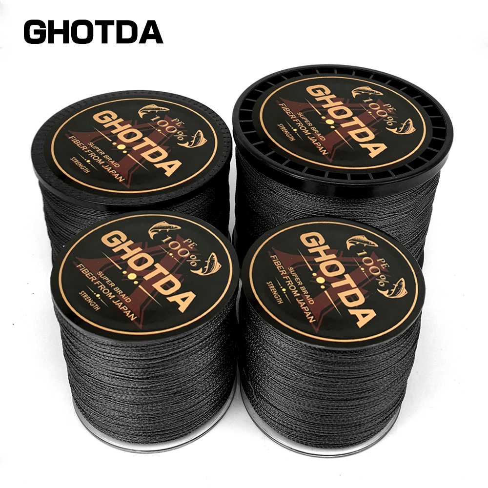 GHOTDA PE Braided Fishing Line Black Multifilament Fishing Cord Strong Saltwater 4 Strands 300M 500M 1000M все цены