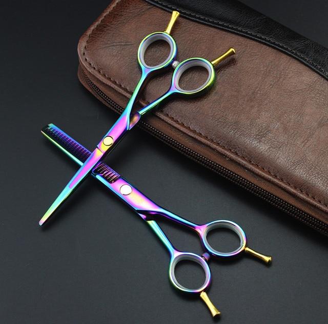 Профессиональный 5.5 дюймов двухсторонний ножничные Красочные истончение scisors резки парикмахерская ножницы набор парикмахерские ножницы